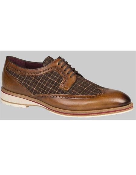 Men's Leather Sole Cognac/Brown Plaid Spectator Dress Shoes Authentic Mezlan Brand