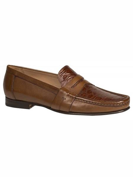 Mezlan Brand Cognac ~ Tan Genuine Crocodile Loafer Shoes