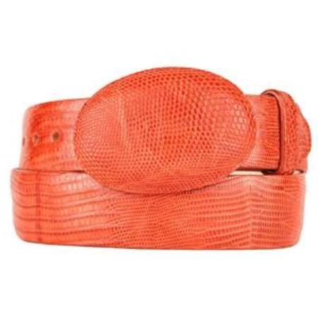 Men's Cognac Original Lizard Teju Skin Western Style Belt