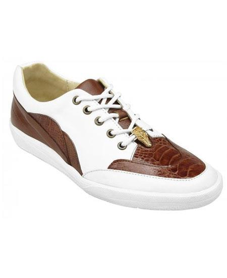 Men's Cognac ~ White Genuine Ostrich ~ Soft Calf Casual Sneakers