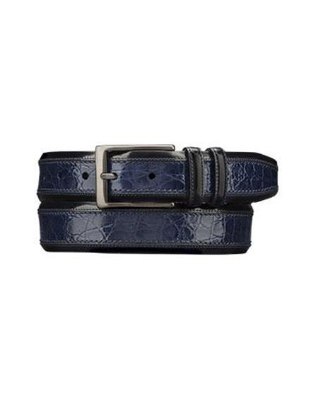 Mezlan Belts Men's Handmade Blue Genuine Crocodile Skin Cinturon De Cocodrilo