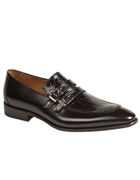 Mens Crocodile Top Slip-On Monk Strap Black Leather Shoes Authentic Mezlan Brand