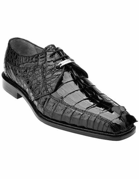 Belvedere Men's Genuine Hornback Crocodile Black Laceup Style Shoes