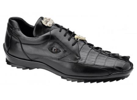 Belvedere Mens Black Genuine Hornback Crocodile Sneaker