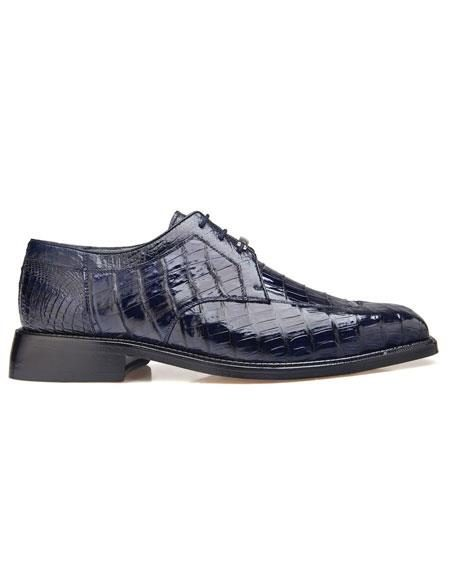 Men's Genuine Crocodile Lace Up Navy Dress Shoes