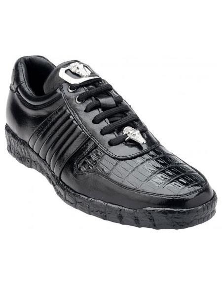 Belvedere Astor Genuine Crocodile / Soft Calfskin Black Casual Sneakers for men