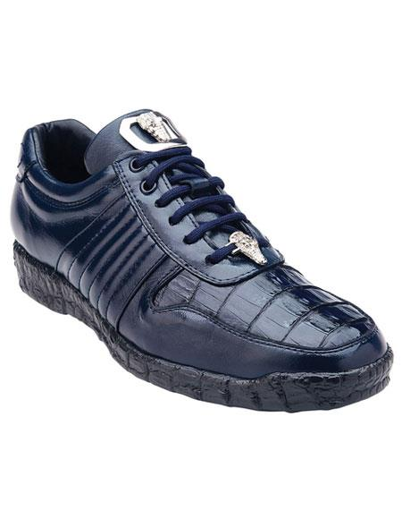 Belvedere Astor Genuine Crocodile / Soft Calfskin Navy Casual Sneakers for men