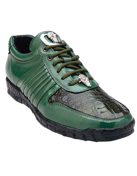 Belvedere Astor Genuine Crocodile / Soft Calfskin Olive Casual Sneakers for men