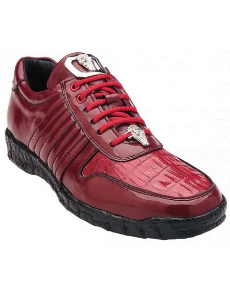 Belvedere Astor Genuine Red Crocodile / Soft Calfskin Casual Sneakers for men
