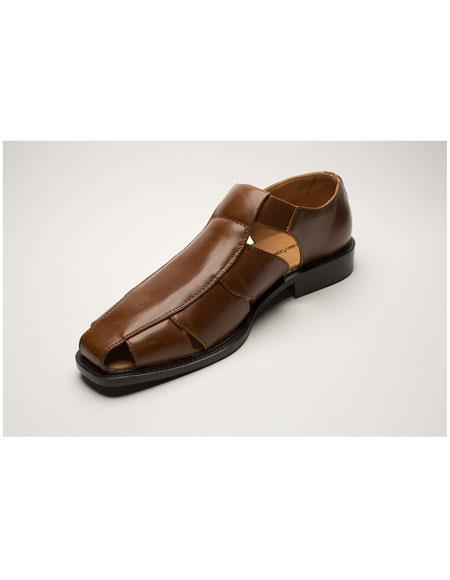 Mens Two Toned Dark Brown Casual Sandal Shoes