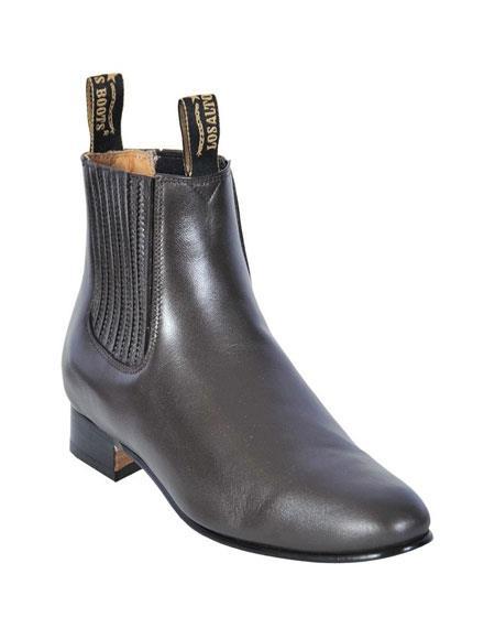 Los Altos Charro Botin Short Ankle Deer Dark Brown Leather Boot ~ Botines Para Hombre For Men