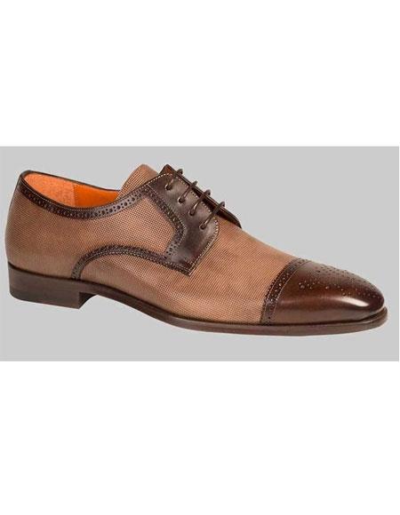 Men's Two Tone Dark Brown/Taupe Dress Oxford Cap Toe Leather Shoe Authentic Mezlan Brand