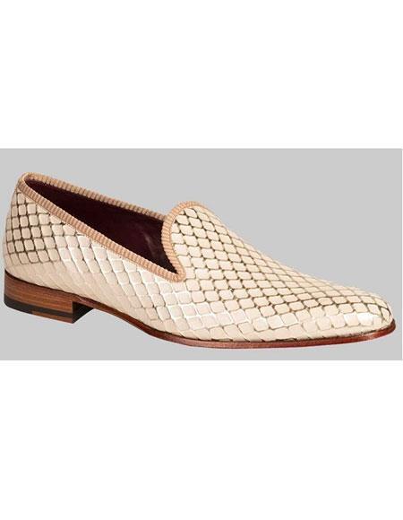 Men's Handmade Diamond Pattern Bone Calfskin Slip On Shoes Authentic Mezlan Brand