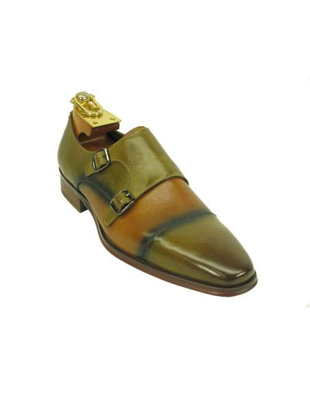 Men's Fashionable Two Tone Monk Strap Loafer Tan Leather Shoes