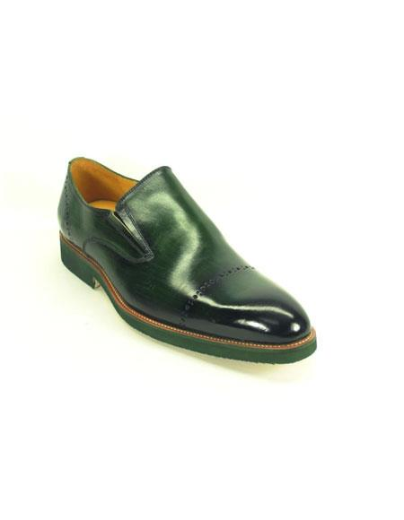 Men's Slip On Olive Match Bottom Edge Fashionable Loafer Shoes