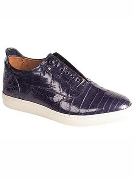 Mezlan Brand Emmanuel Blue Genuine Crocodile Slip-On Shoes