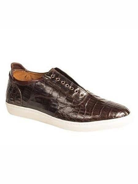 Mezlan Brand Emmanuel Brown Genuine Crocodile Slip-On Shoes