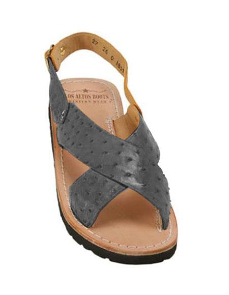 Mens Blue-Jean Exotic Skin Sandals in ostrich or World Best Alligator ~ Gator Skin or Stingray skin in White or Black or Red or Tan or Brown or Copper or Olive colors