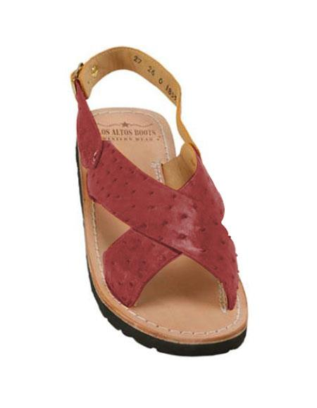 Mens Burgundy ~ Wine ~ Maroon Color Exotic Skin Sandals in ostrich or World Best Alligator ~ Gator Skin or Stingray skin in White or Black or Red or Tan or Brown or Copper or Olive colors