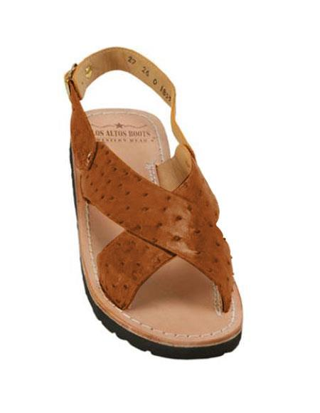 Mens Cognac Exotic Skin Sandals in ostrich or World Best Alligator ~ Gator Skin or Stingray skin in White or Black or Red or Tan or Brown or Copper or Olive colors
