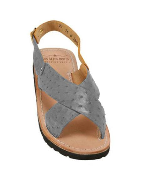 Mens Gray Exotic Skin Sandals in ostrich or World Best Alligator ~ Gator Skin or Stingray skin in White or Black or Red or Tan or Brown or Copper or Olive colors