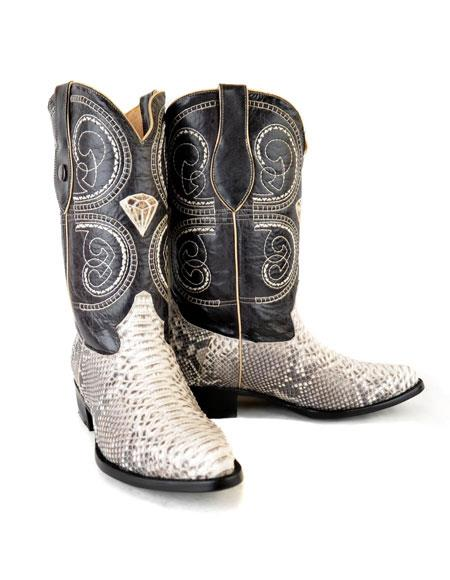 Men's Natural Western Bota Exotic Piel Piton Dress Boots