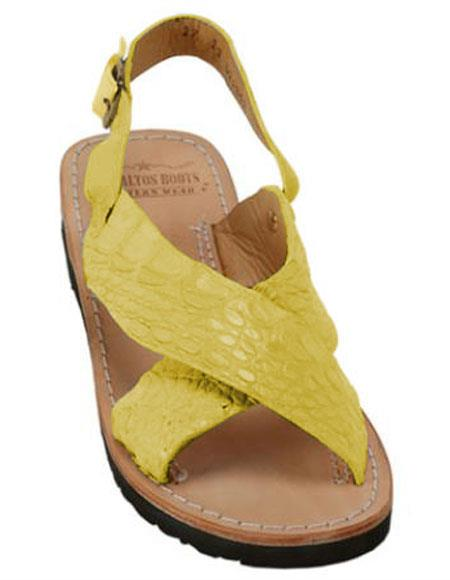 Mens Citron Yellow Exotic Skin Sandals in ostrich or World Best Alligator ~ Gator Skin or Stingray skin in White or Black or Red or Tan or Brown or Olive Colors