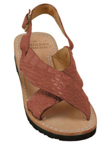 Mens Exotic Skin Cognac Sandals in ostrich or World Best Alligator ~ Gator Skin or Stingray skin in White or Black or Red or Tan or Brown or Olive Colors
