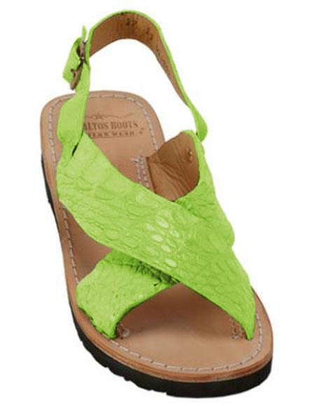 Mens Exotic Skin Electric-Lime Sandals in ostrich or World Best Alligator ~ Gator Skin or Stingray skin in White or Black or Red or Tan or Brown or Olive Colors