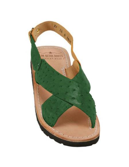 Mens Exotic Skin Forest Green Sandals in ostrich or World Best Alligator ~ Gator Skin or Stingray skin in White or Black or Red or Tan or Brown or Copper or Olive colors