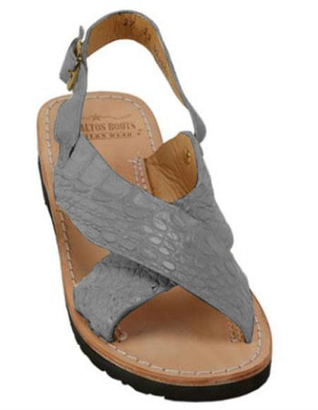 Mens Exotic Skin Gray Sandals in ostrich or World Best Alligator ~ Gator Skin or Stingray skin in White or Black or Red or Tan or Brown or Olive Colors