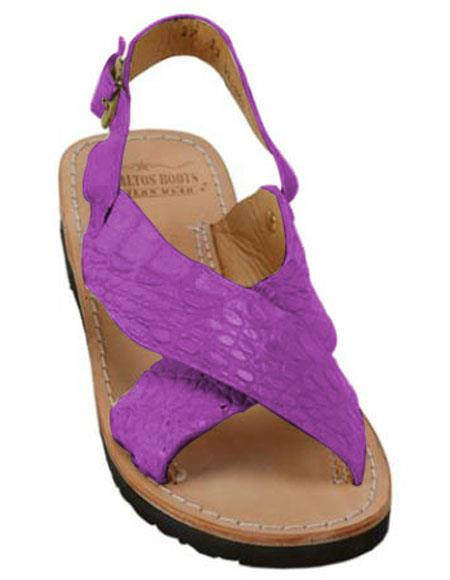 Mens Exotic Skin Sandals Magenta in ostrich or World Best Alligator ~ Gator Skin or Stingray skin in White or Black or Red or Tan or Brown or Olive Colors