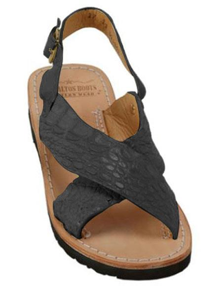 Mens Matte-Black Exotic Skin Sandals in ostrich or World Best Alligator ~ Gator Skin or Stingray skin in White or Black or Red or Tan or Brown or Olive Colors