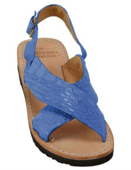 Mens Exotic Skin Navy Sandals in ostrich or World Best Alligator ~ Gator Skin or Stingray skin in White or Black or Red or Tan or Brown or Olive Colors