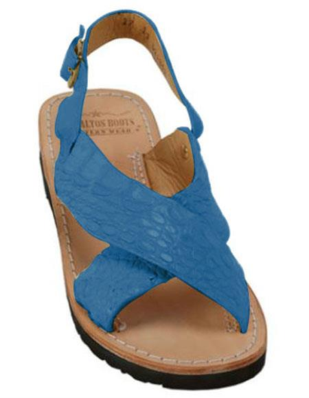 Mens Exotic Skin Pacific Blue Sandals in ostrich or World Best Alligator ~ Gator Skin or Stingray skin in White or Black or Red or Tan or Brown or Olive Colors