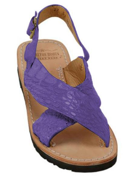 Mens Exotic Skin Purple Sandals in ostrich or World Best Alligator ~ Gator Skin or Stingray skin in White or Black or Red or Tan or Brown or Olive Colors
