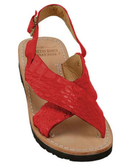 Mens Exotic Skin Sandals Red in ostrich or World Best Alligator ~ Gator Skin or Stingray skin in White or Black or Red or Tan or Brown or Olive Colors
