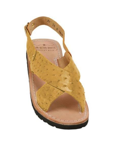 Mens Exotic Skin Saddle Sandals in ostrich or World Best Alligator ~ Gator Skin or Stingray skin in White or Black or Red or Tan or Brown or Copper or Olive colors