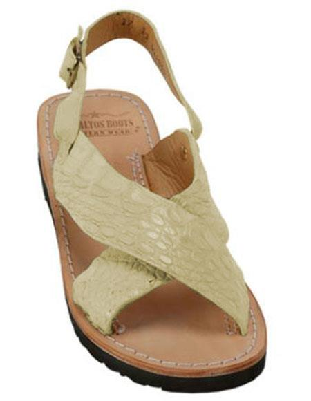 Mens Exotic Skin Stone Sandals in ostrich or World Best Alligator ~ Gator Skin or Stingray skin in White or Black or Red or Tan or Brown or Olive Colors