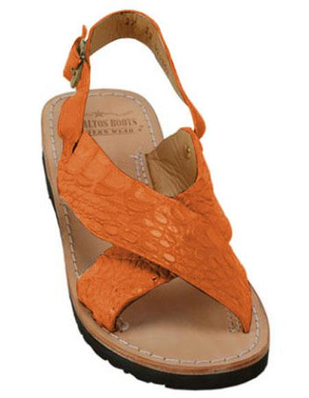 Mens Exotic Skin Tangerine Sandals in ostrich or World Best Alligator ~ Gator Skin or Stingray skin in White or Black or Red or Tan or Brown or Olive Colors
