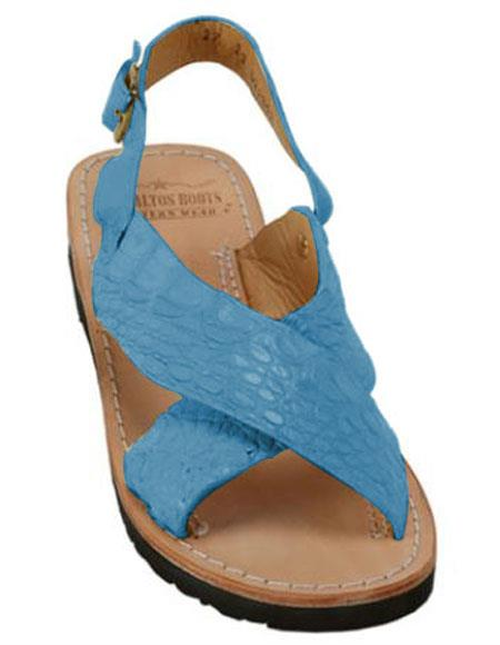 Mens Exotic Skin Turquoise Sandals in ostrich or World Best Alligator ~ Gator Skin or Stingray skin in White or Black or Red or Tan or Brown or Olive Colors