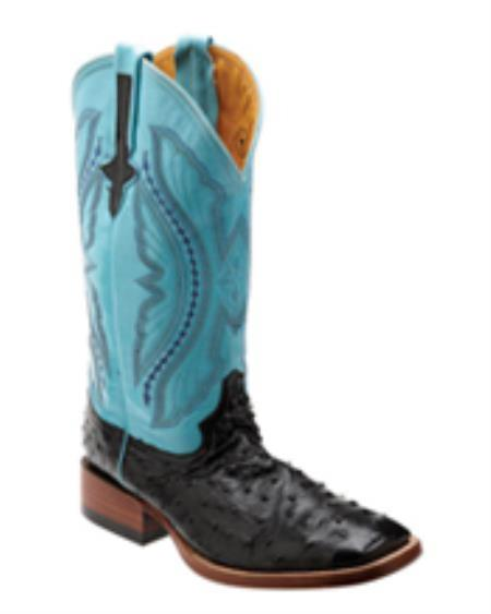 Ferrini Men's Full Quill Ostrich S-Toe Boot - Black/turquoise ~ Light Blue Stage Party