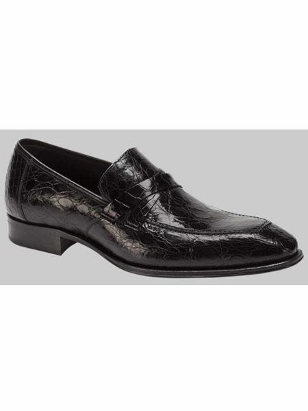 Mezlan Brand Sierpes Style Genuine Crocodile Black Loafer Shoes