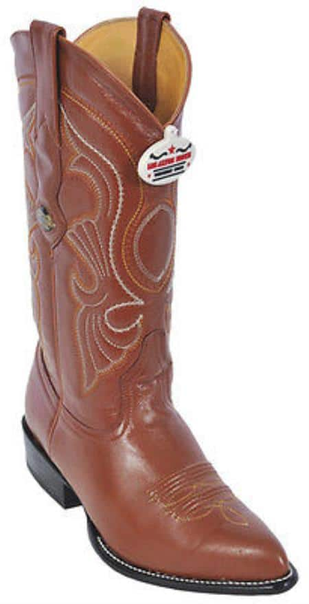 Goat Leatherp Cognac Brown Vintage Los Altos Men's Cowboy Boot ~ botines para hombre Western Riding