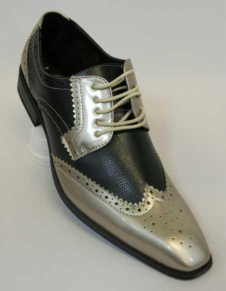 Two Tone Gold Exotic Print Tie Up Style Classic Spectator Wingtip Lace up Dress Shoes
