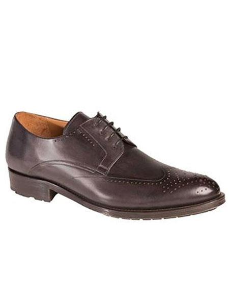Mens Graphite Calfskin Lace Up Wingtip Oxford Leather Shoes Authentic Mezlan Brand