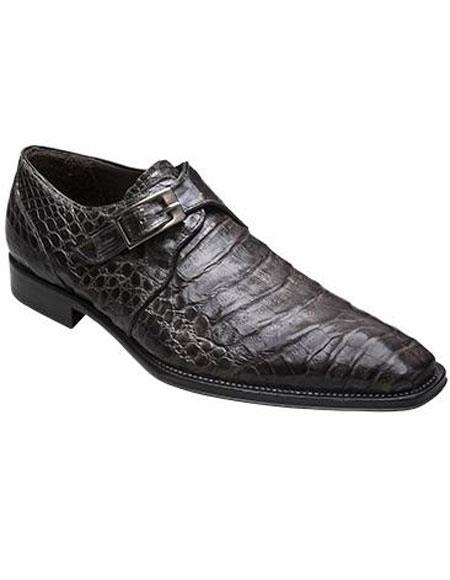 Men's Mezlan Gray Crocodile Monk Strap Italian Design Shoes Authentic Mezlan Brand
