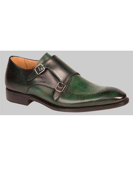 Men's Two Tone Green/Black Double Monkstrap Leather Sole Dress Shoes Authentic Mezlan Brand