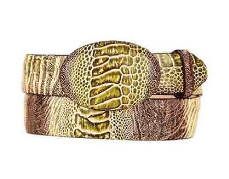 Cinto De Avestruz - Cinto Vaquero Green Rustic Original Ostrich Leg Skin Western Style Belt