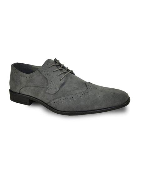 Men's Tuxedo Lace Up Grey Velvet Fabric Suede Shoes